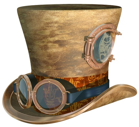 steampunk: Isolated illustration of a steampunk top hat and brass goggles