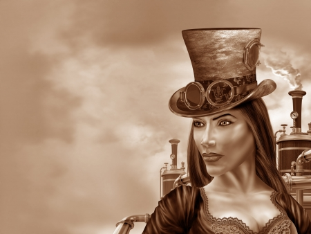 steampunk goggles: Ilustraci�n de una mujer steampunk en un motivo industrial Foto de archivo