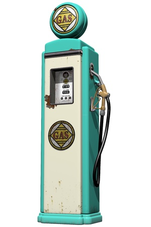 gas pump: Isolated illustration of a weathered vintage gas pump