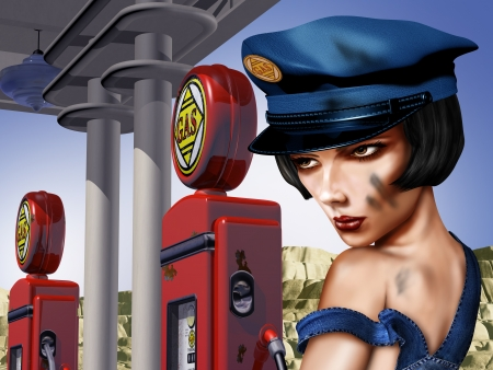 gas pump: Vintage gas station with a female gas pump attendant