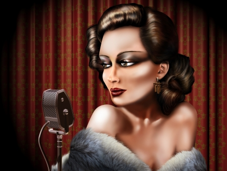 performing: Retro illustration of a woman singing into a microphone Stock Photo