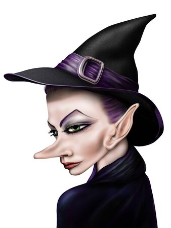 wiccan: Stylized illustration of a witch in a pointy hat Stock Photo