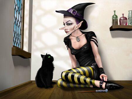 wiccan: Illustration of a young witch sitting with her cat