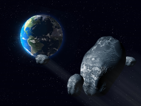 Illustration of asteroids on a near earth orbit illustration