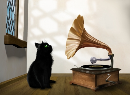 Illustration of a black cat looking into an old gramophone horn illustration