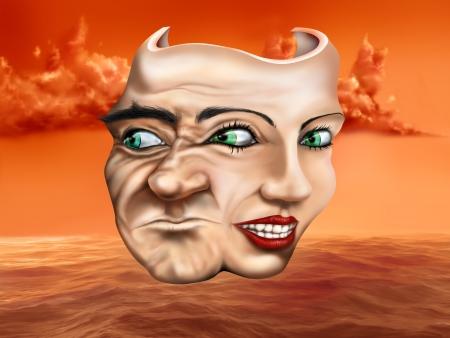 esquizofrenia: M�scara de teatro surrealista esquizofr�nico representa una mezcla de emociones Foto de archivo