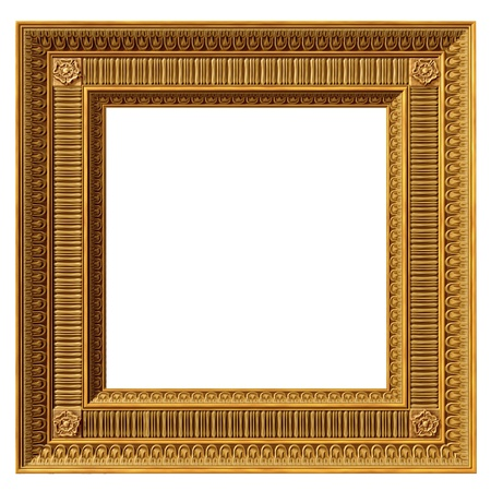 neoclassical: Illustration of a gilded square neoclassical picture frame Stock Photo