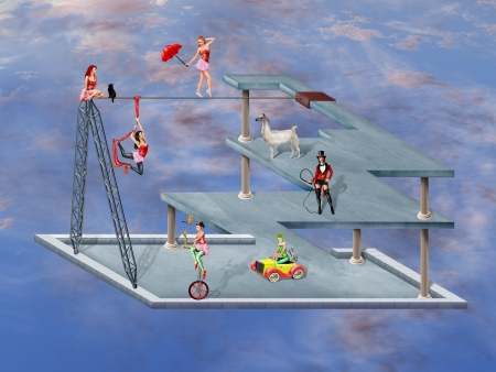 circus performers: Circus performers in an impossible surreal circus