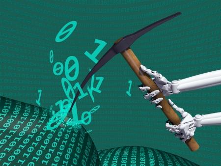 regression: Illustration depicting data mining of computer information