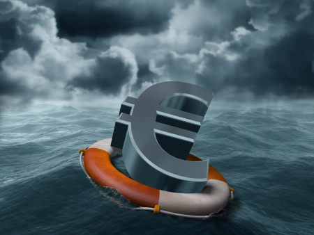 deflation: Illustration of a euro symbol being saved from stormy weather Stock Photo