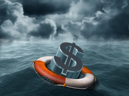 deflation: Illustration of a dollar symbol being saved from stormy weather Stock Photo