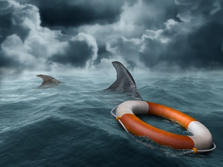 surrounded: Illustration of a lifebuoy adrift in the ocean surrounded by hungry sharks