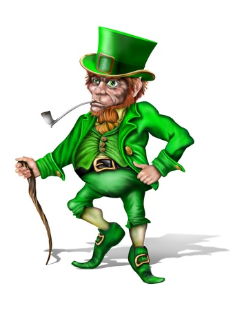 legends folklore: Illustration of an Irish leprechaun holding a shillelagh Stock Photo
