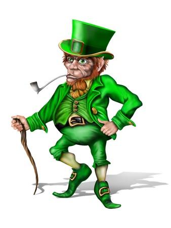 leprechaun hat: Illustration of an Irish leprechaun holding a shillelagh Stock Photo