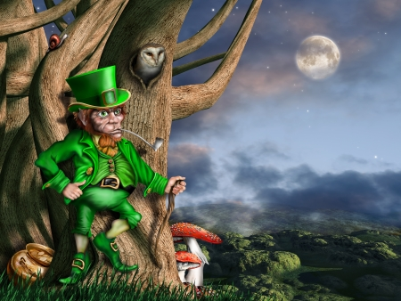 Illustration of a leprechaun with his pot of gold at night illustration