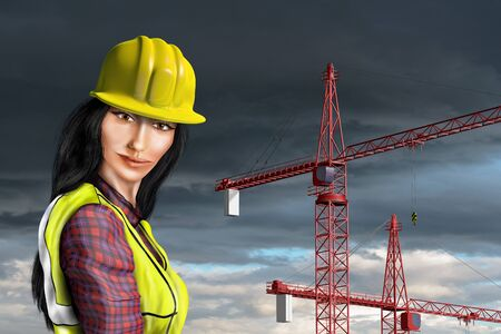 Stylized illustration of an Asian construction worker illustration