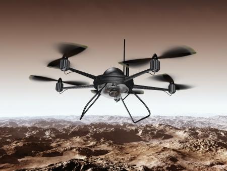 robot war: Illustration of a spy drone scanning a mountainous region