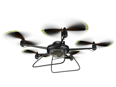 drone: Isolated illustration of a hovering spy drone