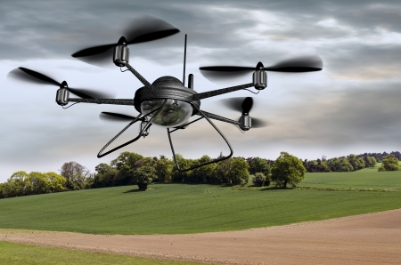 drone: Illustration of a surveillance drone searching the countryside