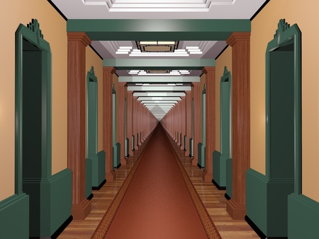 never ending: Never ending Art Deco corridor with an infinite number of rooms