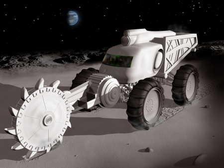 exploit: Huge lunar excavator exploiting  resources on the moon