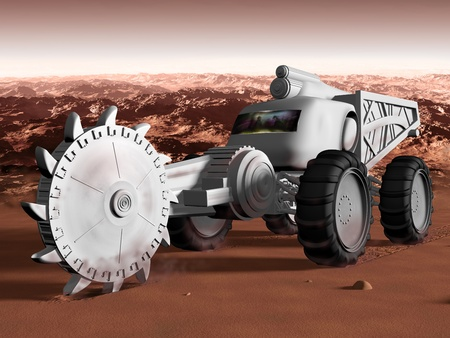 martian: Huge Martian excavator exploiting resources on mars Stock Photo