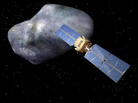 looming: Satellite with large asteroid looming up behind it