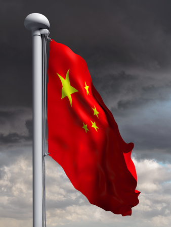 flapping: Illustration of the flag of China waving in the wind