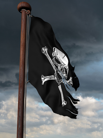 flagpole: Tattered pirate flag flying high on a windy day