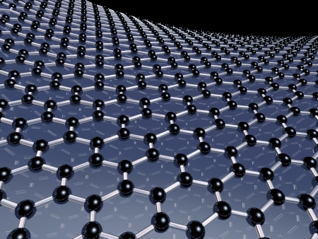 Illustration of carbon atoms forming the honeycomb lattice of graphene