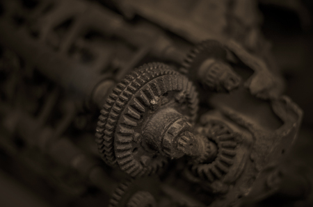 seized: Detail of a camshaft gear on an old rusty engine Stock Photo