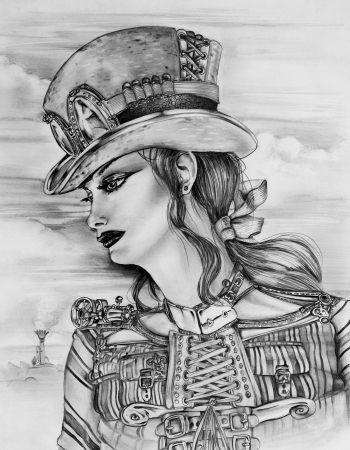 Original pencil sketch drawn by myself of a Steampunk woman in a customized top hat  photo
