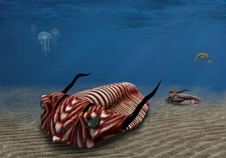 scavenging: Prehistoric trilobite scavenging on the ocean floor