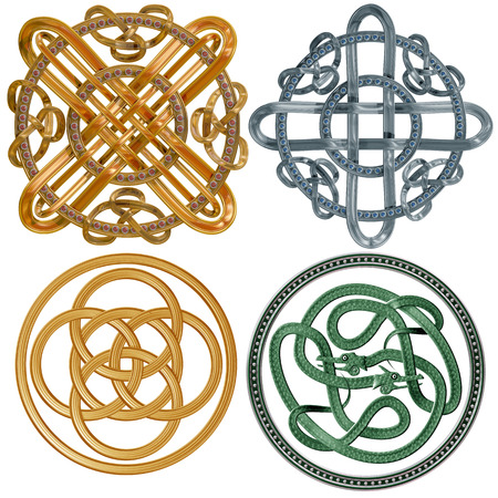 A collection of intricate Celtic Knots based on a circle photo