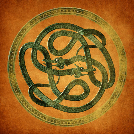 Green Serpent Celtic Knot on an old parchment document photo
