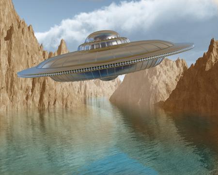 platillo volador: Ilustración de un platillo volador flotando en el cielo