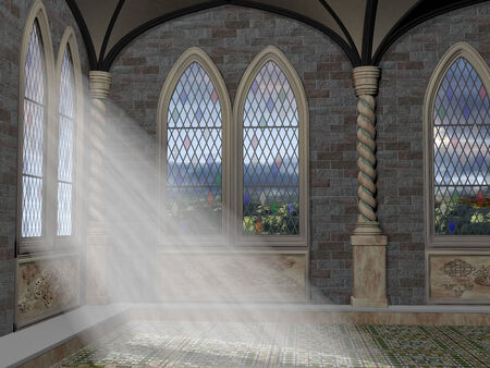 crepuscular: God rays streaming through a stained glass leaded window Stock Photo