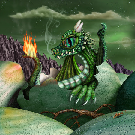 legends folklore: Cute baby fire breathing dragon hatching from a green egg at night