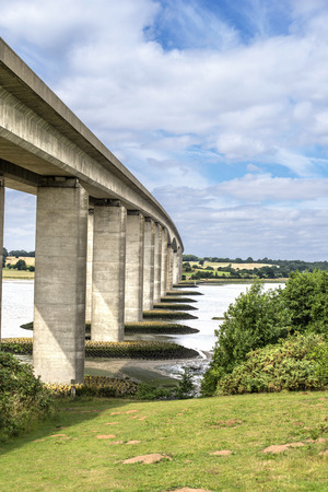 concrete structure: Orwell Bridge in Suffolk England spanning the River Orwell Stock Photo