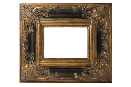 baroque picture frame: Small black and gold Spanish Baroque picture frame
