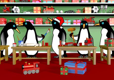 workshop: Penguins making toys for Christmas in Santas Workshop