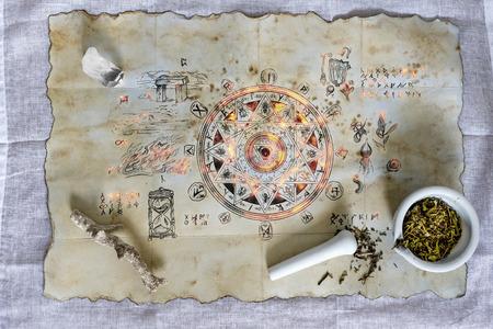 aura: Enchanted magic spell emitting a mysterious aura Stock Photo