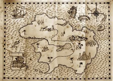 Old treasure map used by pirates to find hidden treasure Banco de Imagens