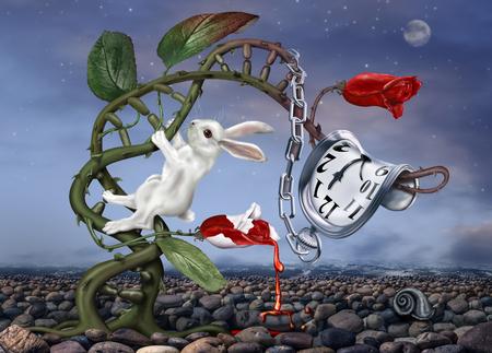 Coniglio bianco scalare una doppia elica con orologio surreale