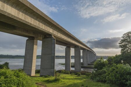 concrete structure: Orwell Bridge spanning the River Orwell on a sunny day in Summer