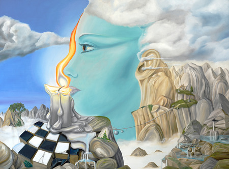 Original oil on canvas painting depicting a surreal dreamscape with themes of meditation