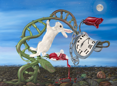 Original oil on canvas painting depicting a blend of Lewis Carroll's writing and Salvador Dali's ideas