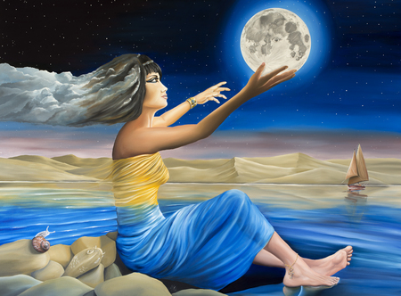 Original oil on canvas painting depicting Mother Nature addressing the moon