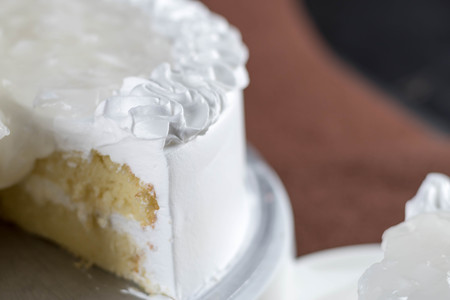 tres: yummy fresh coconut topping milk sponge cake with low sugar,selective focus.
