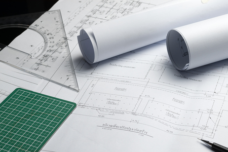 Engineering diagram blueprint paper drafting project sketch engineering diagram blueprint paper drafting project sketch architecturalselective focus photo malvernweather Choice Image